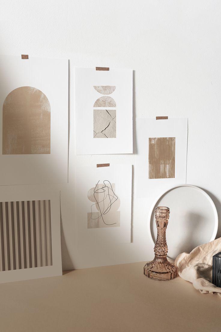 Dark Beige Arched Shape Print Abstract Print In 2020 Minimal Wall Art Beige Art Minimal Decor