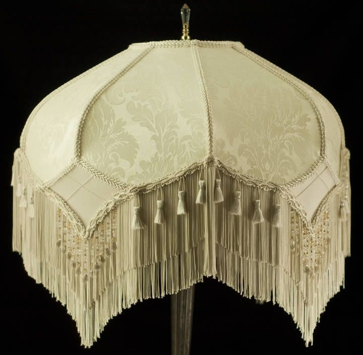 STUNNING VINTAGE LOOK VICTORIAN LAMPSHADE IVORY DAMASK FABRIC FRINGED & BEADED | Home & Garden, Lamps, Lighting & Ceiling Fans, Lamp Shades | eBay!