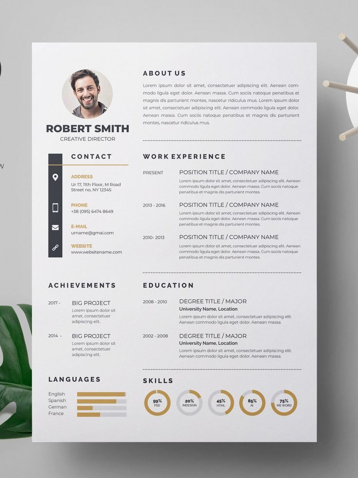 4 HighQuality Resume Template for MS Word Download Now