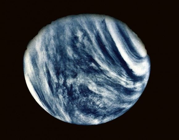 On Feb. 5, 1974, NASA's Mariner 10 mission took this first close-up photo of Venus during 1st planetary gravity assist flyby. Credit: NASA