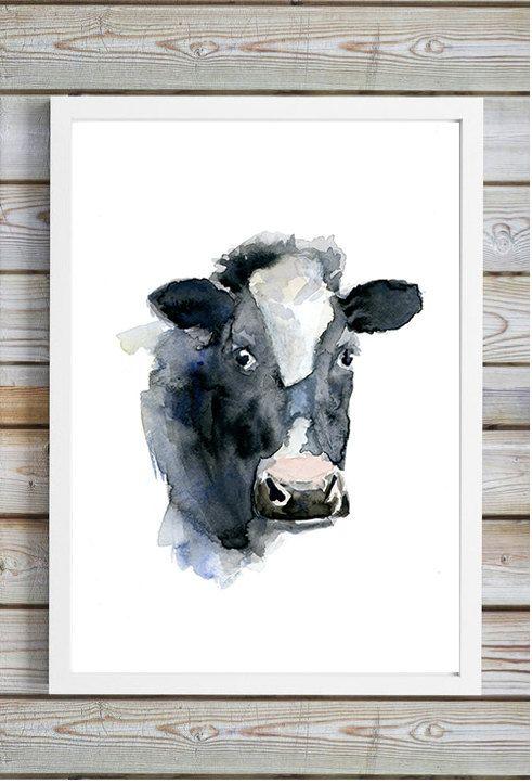 Koe portret  Aquarel koe  Print  koe schilderij  door Zendrawing
