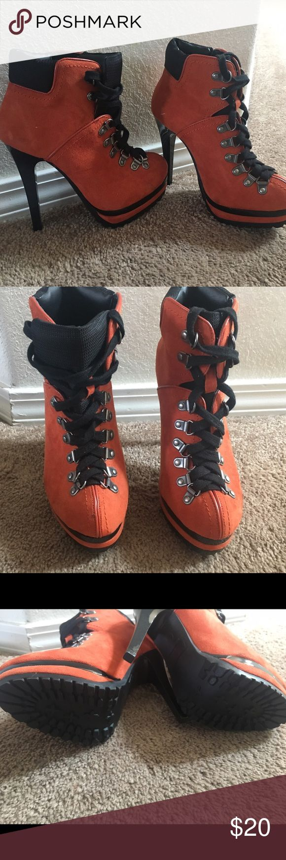 """Orange high heel boots Orange lace up high heels boots, new without box, 5"""" heel.  So cute! Xhilaration Shoes Heels"""