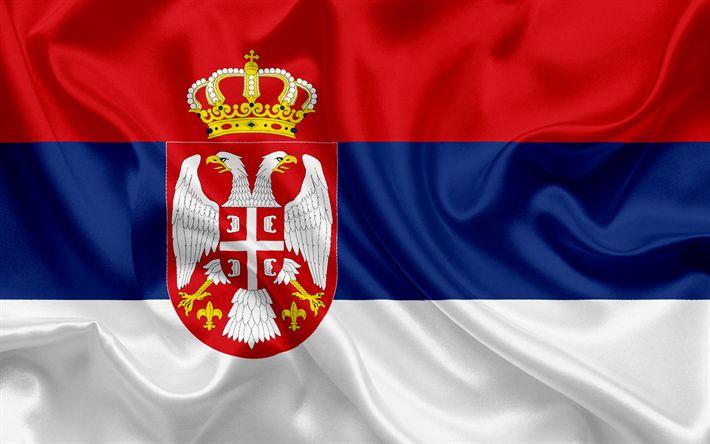 Download wallpapers Serbian flag, Serbia, silk flag, Europe, flag of Serbia