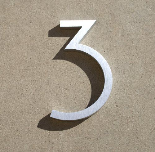 "Modern House Number Aluminum Contemporary Font Number Three ""3"" 6 inch by Moderndwellnumbers.com. $29.99. Recycled 3/8"" thick aluminum billet. Modern House Numbers. Clear protective coating to withstand extreme conditions. Contemporary font. Size 6"" Tall. We provide high quality house numbers. All of our house numbers are made from recycled 3/8"" thick aluminum billet. available sizes 4"" 6"" 8"" 12"" 15"" tall, with 1/2"" standoffs standoffs and installation templat..."