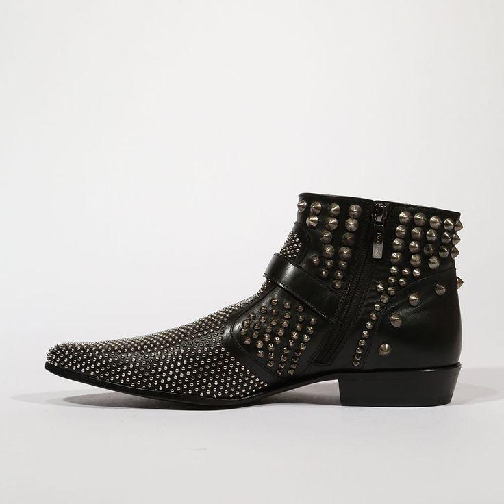 At Dellamoda.com Cesare Paciotti Men's Studded Baby Lux Black Boots (CPM5338)