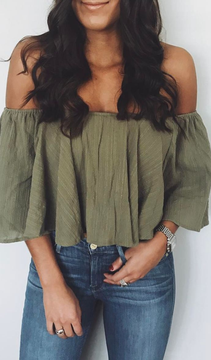 Green off-the-shoulder top