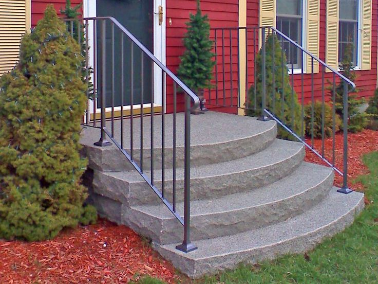 The Step Guys in Alfred made these steps of precast concrete to look like real granite slabs. Concrete, stone and brick steps are usually found to be more durable than wood steps.