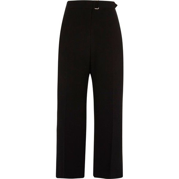 River Island Black D ring waist culottes found on Polyvore featuring pants, capris, black, culottes, cropped trousers, women, wide leg cropped trousers, tall wide leg trousers, creased pants and cropped capri pants