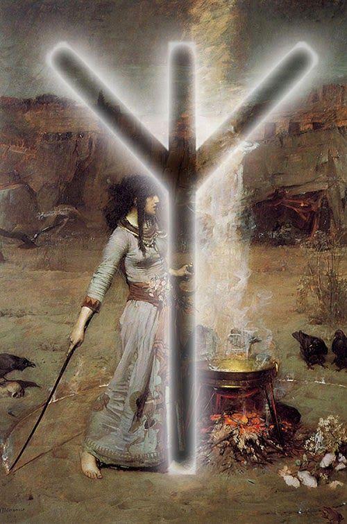 algiz protection ritual runes magic witchcraft waterhouse