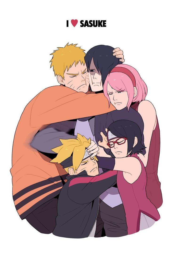 Naruto| Naruto Uzumaki, Boruto Uzumaki, Sasuke Uchiha, Sarada Uchiha e Sakuzra Haruno