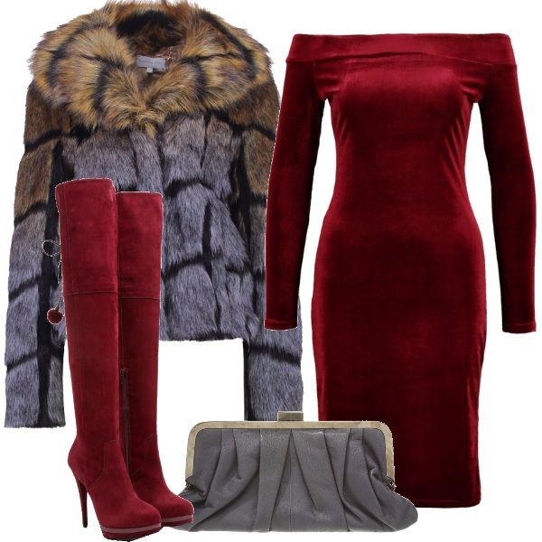 Pronto un look sexy e appariscente da sfoggiare per un cocktail di benvenuto allestito all'aperto? Vestito in velluto rosso che lascia le spalle scoperte, giacca con collo a scialle in fantasia, cuissardes con tacco a spillo e pon pon decorativi, pochette.