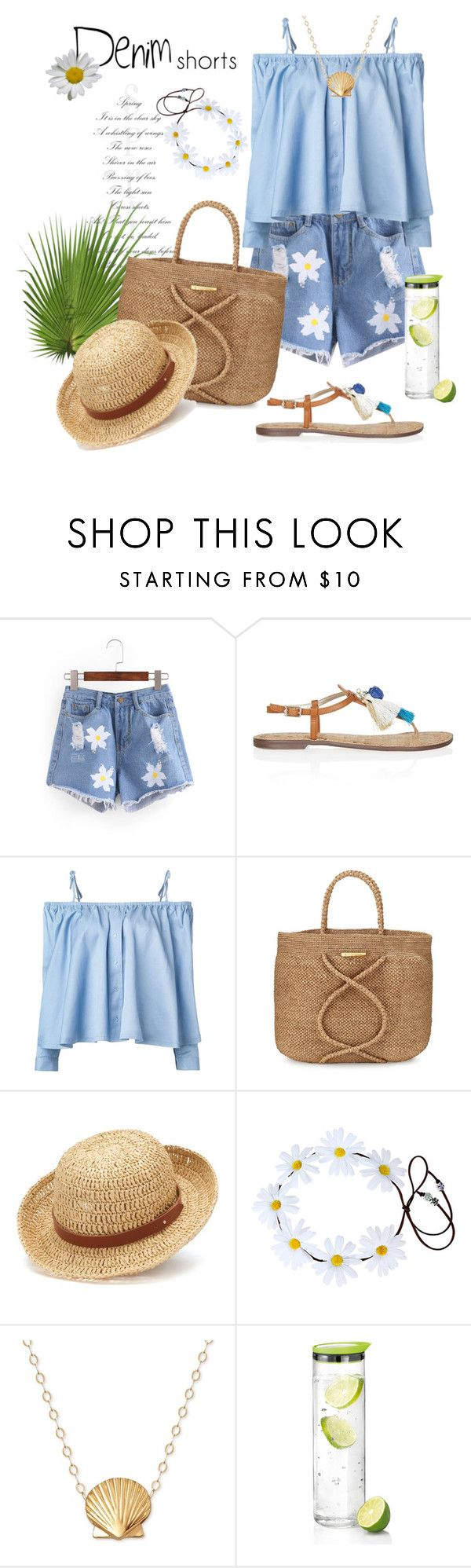 """Denim Shorts"" by rever-de-paris ❤ liked on Polyvore featuring Sam Edelman, Sandy Liang, ViX, Chaps, blomus, denimshorts, contestentry and polyvoreeditorial"