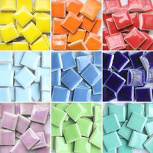 DIY colorful mosaic tiles craft 200 pcs garden aquarium decoration natural glass stone and minerals square marble ceramic mosaic(China (Mainland))