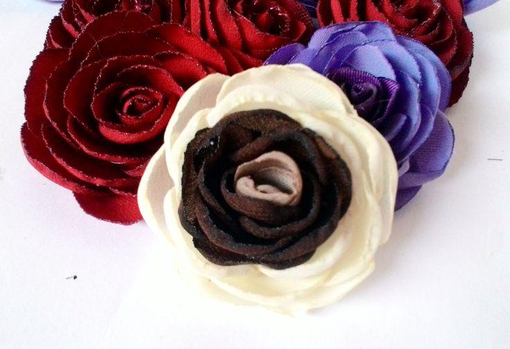 cara membuat bunga mawar bakar dari kain perca sifon/arow