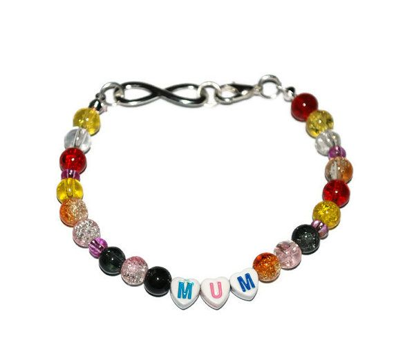 Colorful Mum infinity beaded bracelet, glass beads, mum bracelet, Mother's Day Gifts