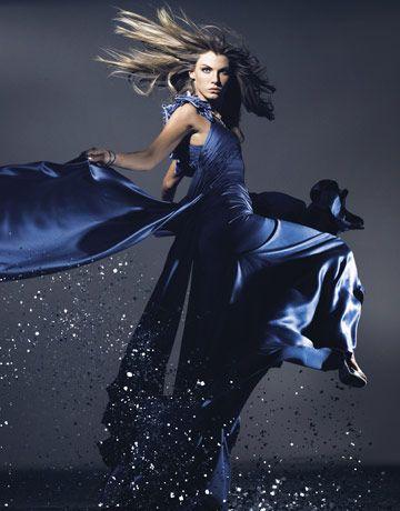 Diamonds - Couture Gowns - Angela Lindvall - Harper's BAZAAR - blue