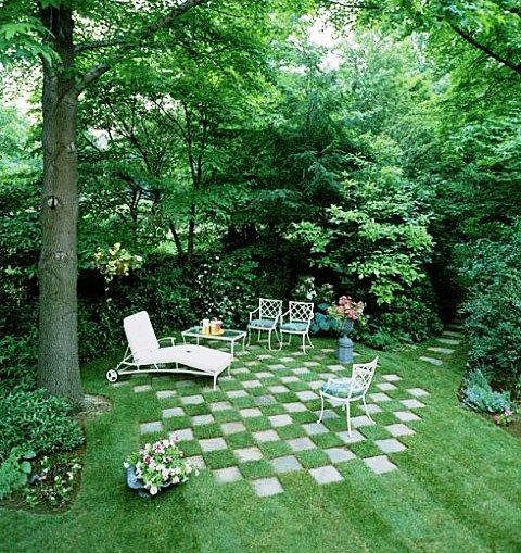 DIY Lawn Design: Gardens Ideas, Outdoor Living, Seats Area, Side Yard, Chess Boards, Alice In Wonderland, Step Stones, Gardens Design, Patio Ideas