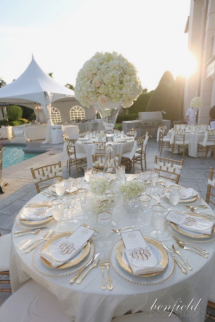 Elegant gold and white table setting