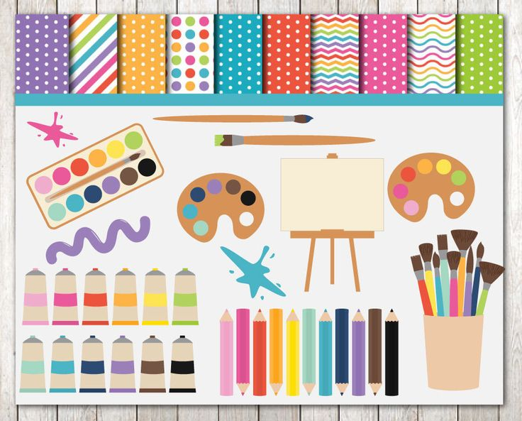 Art Supplies Clipart And Papers, Commercial Use, Instant Download, Cute Clipart, Clip art, Digital Graphics, Planner Clipart, School Supply by PrintSomeLove on Etsy https://www.etsy.com/uk/listing/247282435/art-supplies-clipart-and-papers
