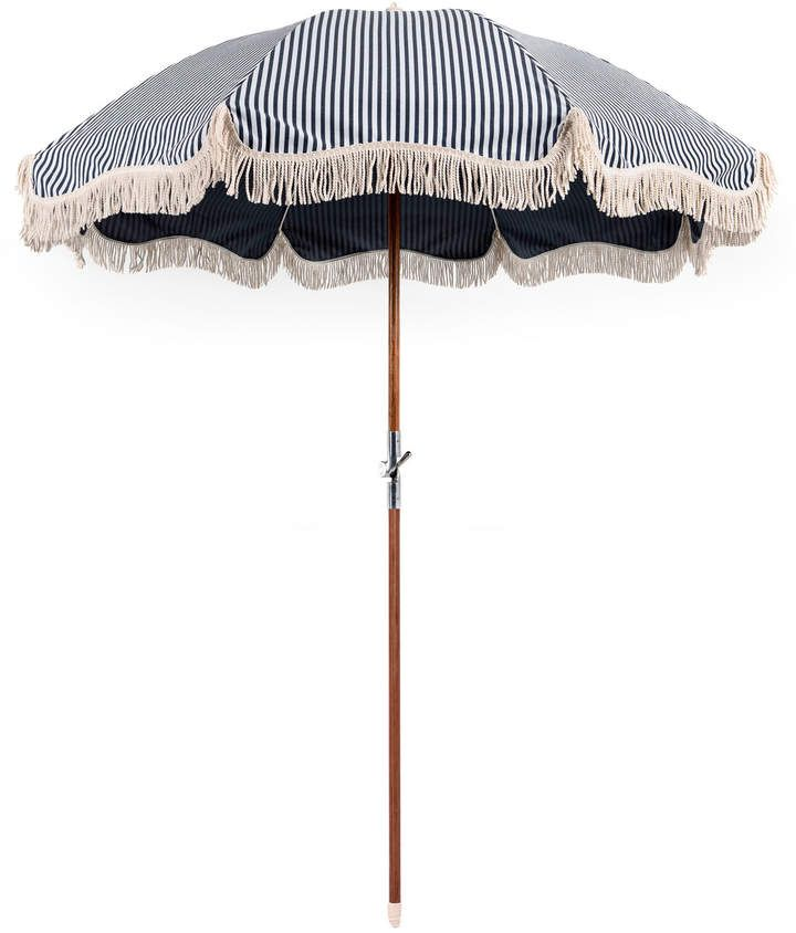 Fringed Striped Canvas Beach Umbrella