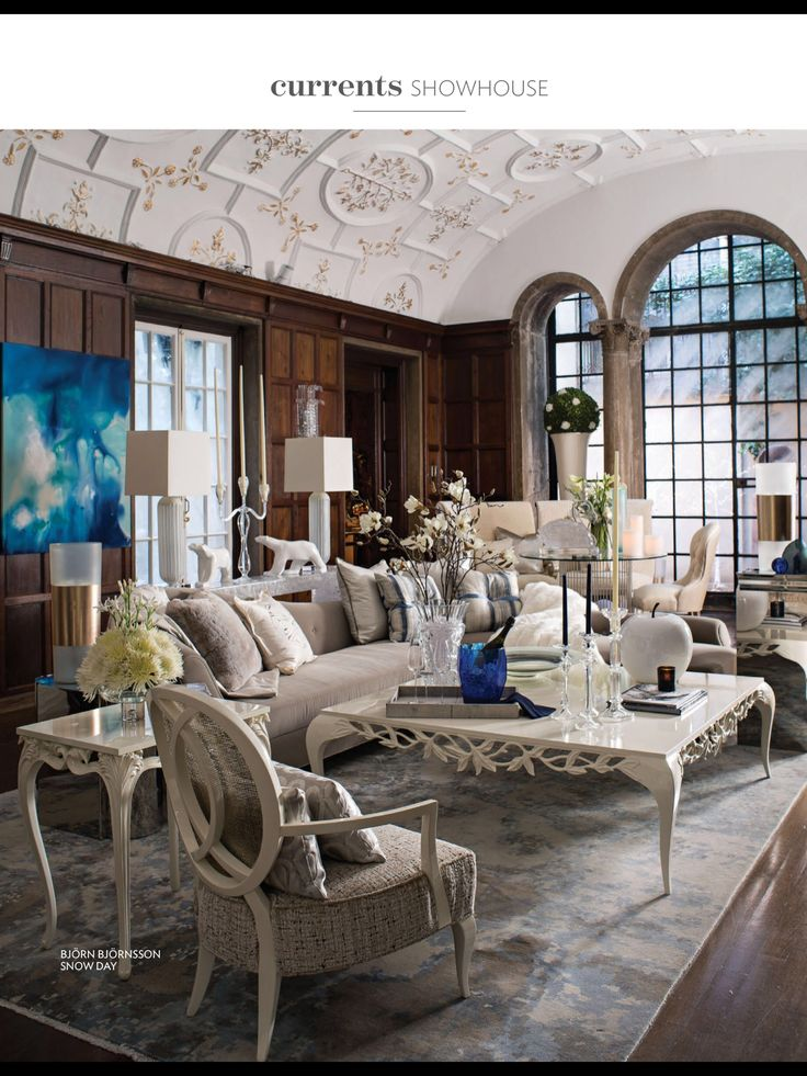 Intricately carves white furnishings echo the ornate