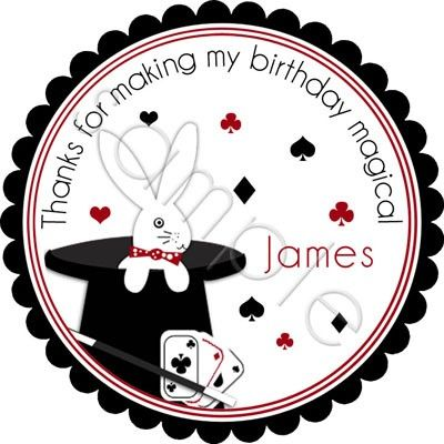 Abracadabra Magic Tricks Party.  Personalized stickers by partyINK.