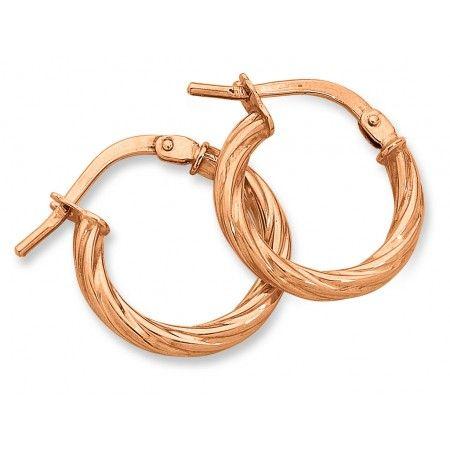 9ct Rose Gold Silver Filled Twist Hoop Earrings. Sku: FR917142