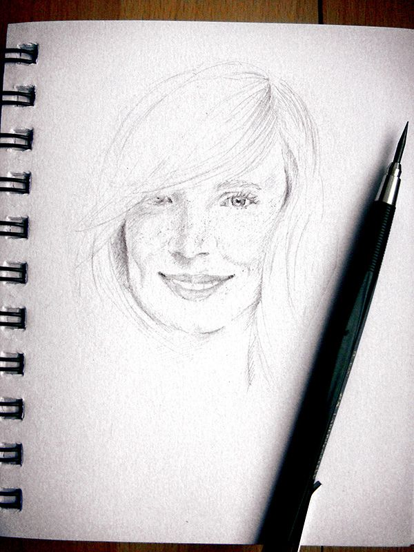Portrait of a freckled girl - pencil sketch by Alina Lupu