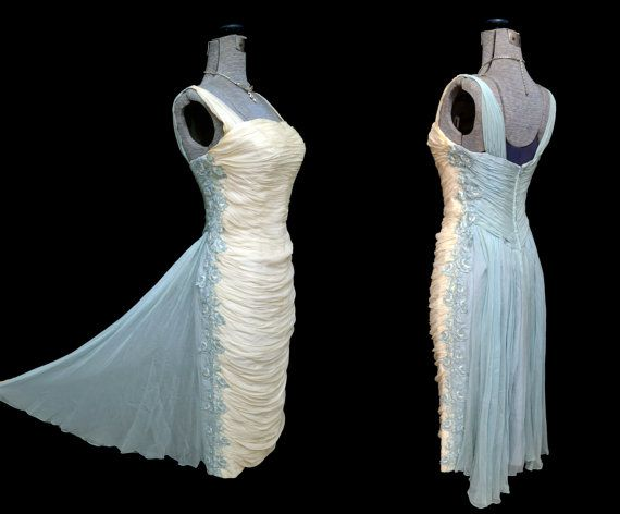 Stunning vintage 1950s ruched bombshell wiggle dress in baby blue and ivory chiffon with train.