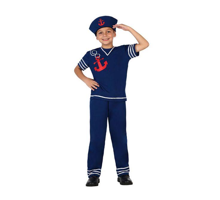#Disfraz de #Marinero azul con ancla roja para niños en varias tallas