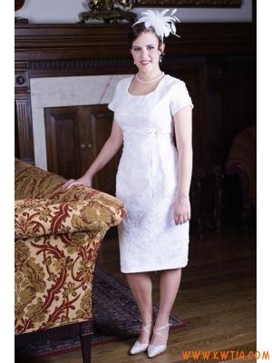 Vintage elegancki kość słoniowa Zroszony zasznurować tradycyjny krótki Suknie ślubne