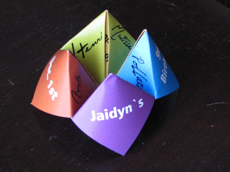 Jaidyn's invitation cootie catcher