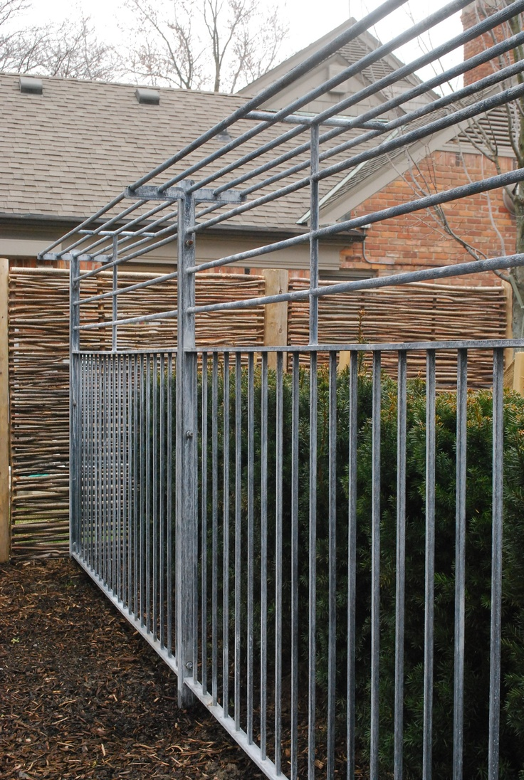 Steel fence with a shelf top from branch privacy
