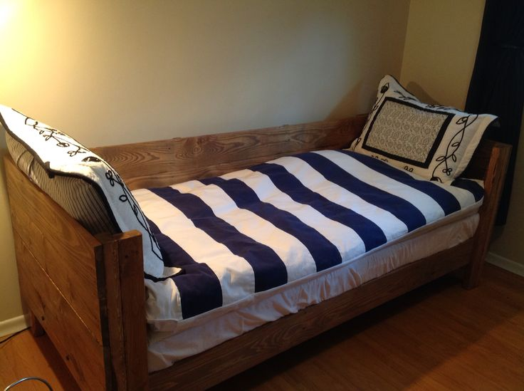 Almost done pallet bed. Just top boards and a soft fabric.