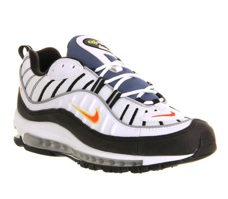 Nike Air Max 98 White Team Orange Black Metallic Silver