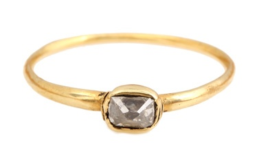 17th Century Diamond Ring  400+ year old diamond in it natural octahedral form with rudimentary faceting in 15k gold.