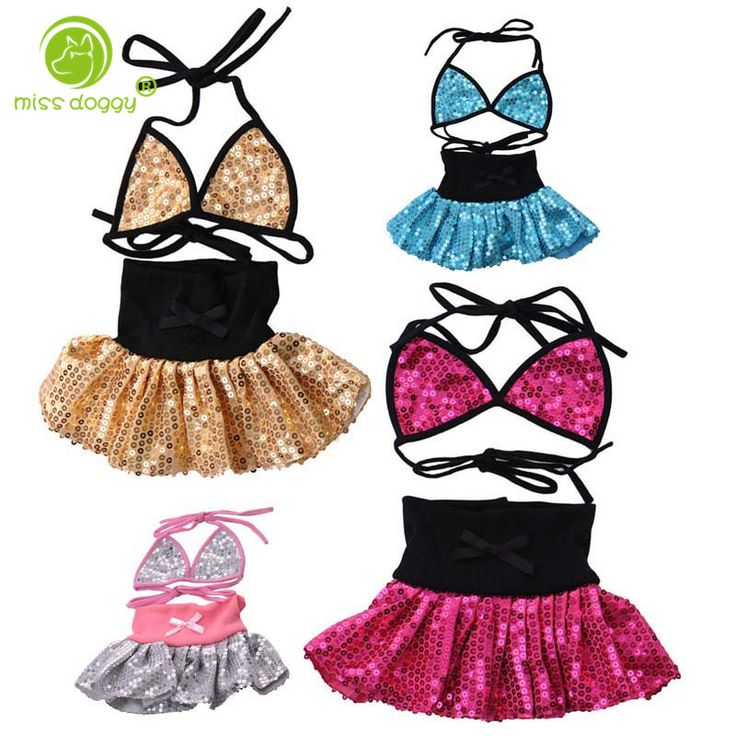 Summer Dress for Puppy 2016 Fancy Clothes Pet Dog Beach Dress Sequin Bikini Set Sexy Costumes Swimwear for Holiday Wedding Party
