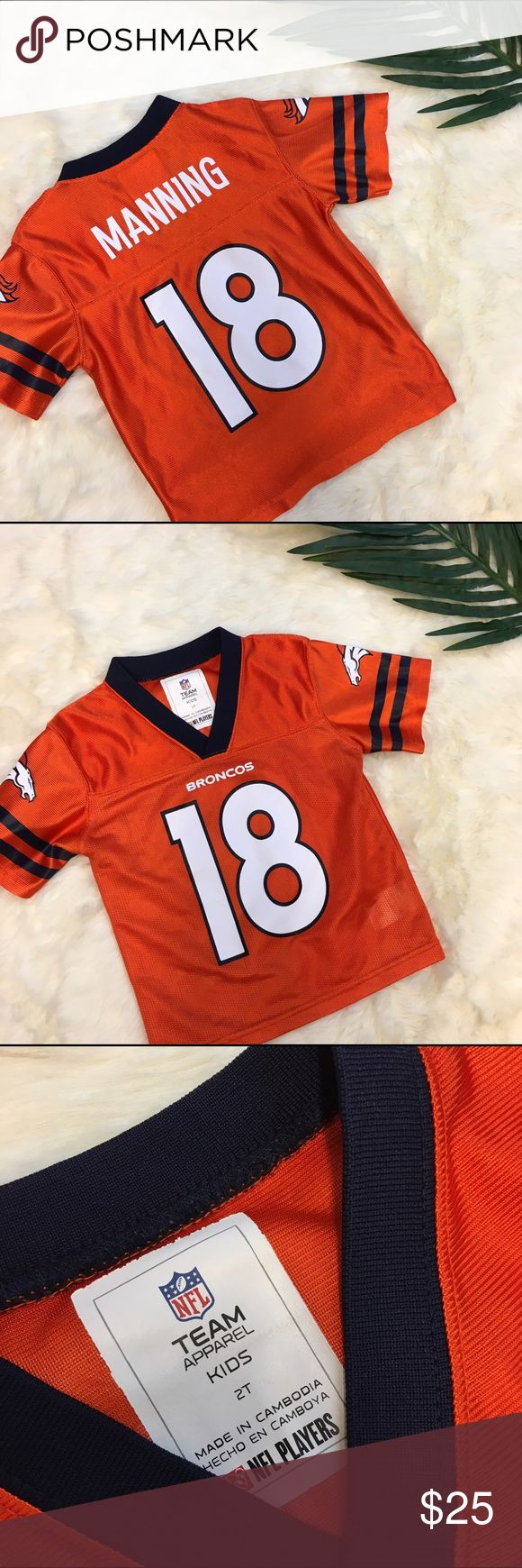 """Denver Broncos Kids Peyton Manning Jersey Denver Broncos Kids Peyton Manning """"18"""" Jersey. Looks like the paint may be starting to peel in a couple of places (see pics) but otherwise in great condition. Great for your little boy or girl! Perfect for any little Peyton fan! NFL Team Apparel Shirts & Tops"""