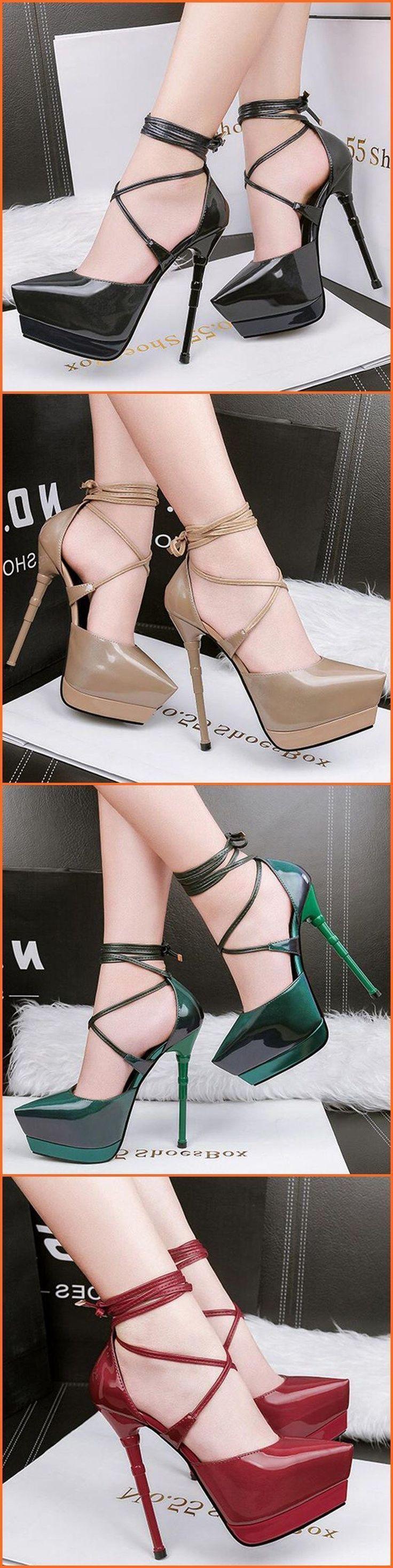 Pointed Toe Banquet Lace-Up Platform Heel #platformhighheelssandals #stilettoheelspointed