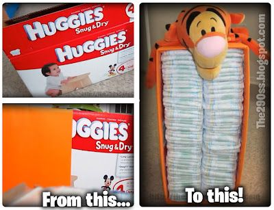 Recycled Diaper Box. Re-purpose a carton box into a functional diaper box. Theme is Winnie the pooh