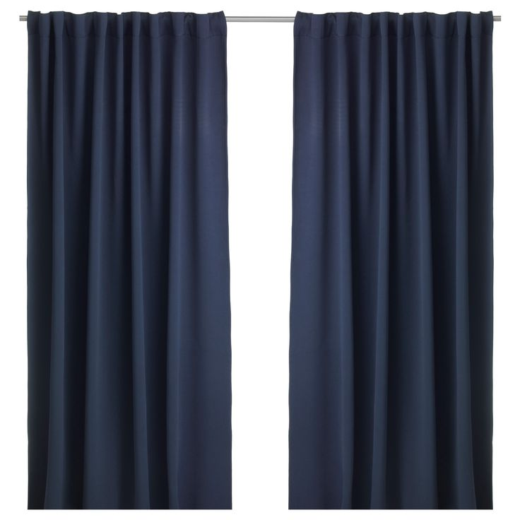 """$39.99  Dimensions: 57x98 """" IKEA - WERNA, Block-out curtains, 1 pair, , The curtains prevent most light from entering and provide privacy by blocking the view into the room from outside.Effective at keeping out both drafts in the winter and heat in the summer.The curtains can be used on a curtain rod or a curtain track.The heading tape makes it easy for you to create pleats using RIKTIG curtain hooks.You can hang the curtains on a curtain rod through the hidden tabs or with rings and hooks."""