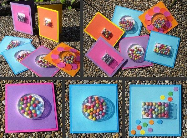 Avec des coques d 39 emballages plastique des cartes bonbons comme au magasin f tes - Fabriquer sachet bonbon anniversaire ...