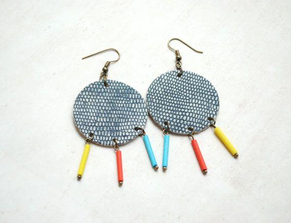 Leather earrings chandelier earrings geometric by elfinadesign