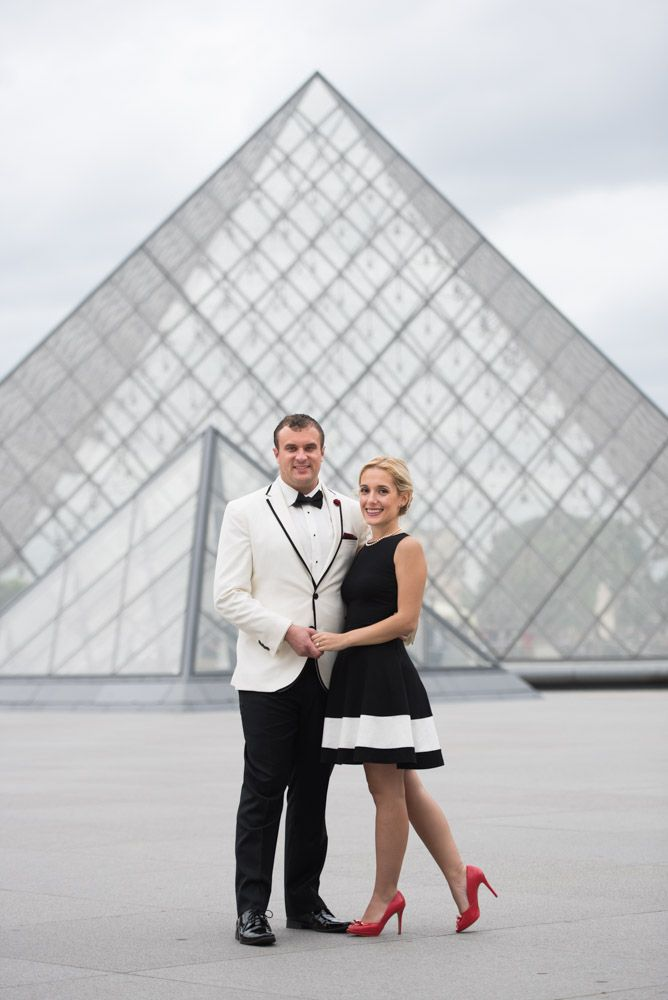 Engagement shoot by Louvre pyramid
