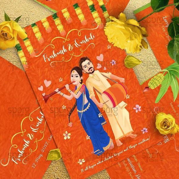 sporg studio caricature Illustrated wedding invitation design for south indian hindu marriage