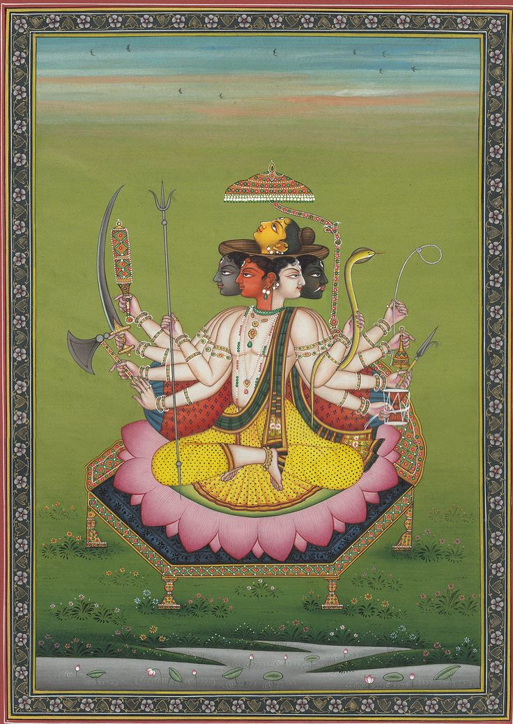 'Pancha-Mukha Shiva' by contemporary Indian artist Kailash Raj. Miniature, watercolor on paper, 8 x 11 in. via Exotic India