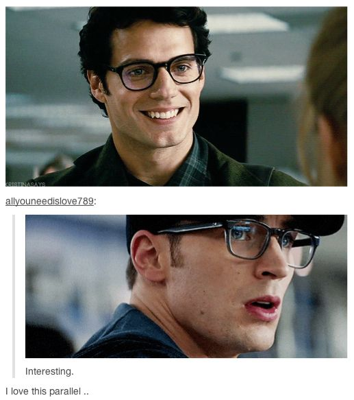 If you're having a bad day, here's Steve Rogers and Clark Kent in their matching glasses. You're welcome.