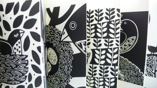 The Lino Bird- concertina book by Linda M Farqhuarson