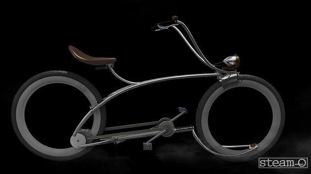 Fiets zonder assen en ketting.   Een fiets die is gebaseerd op een stoomlocomotief. De Steam-O is zowel cool om te zien en tegelijk behoorlijk innovatief: geen traditionele assen en een ketting, maar een drijfstang en krukas met ingebouwde versnelling