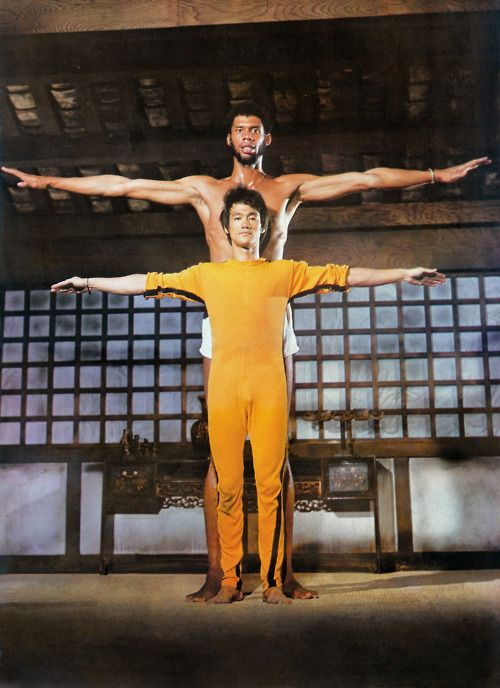 """Bruce Lee and Kareem Abdul Jabbar on the set of """"Game of Death""""."""